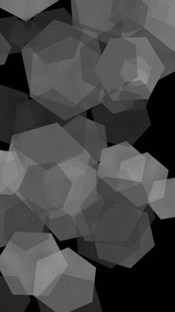 Multicolored translucent hexagons on dark background. Vertical image orientation. 3D illustration
