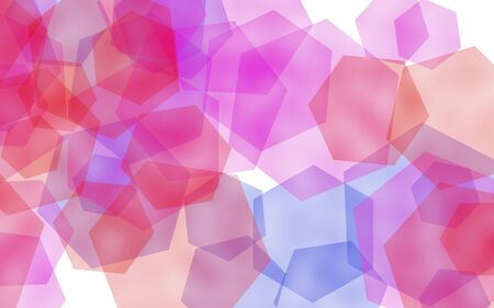 Multicolored translucent hexagons on white background. Red tones. 3D illustration Stok Fotoğraf
