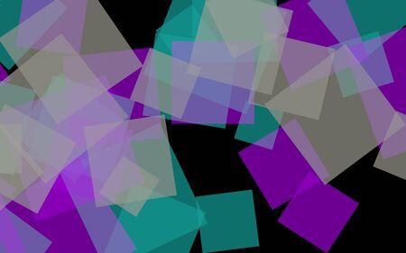 Multicolored translucent squares on dark background. Pink tones. 3D illustration