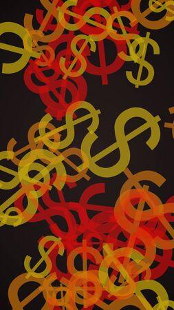 Multicolored translucent dollar signs on dark background. Orange tones. 3D illustration
