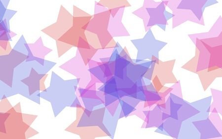 Multicolored translucent stars on a white background. Red tones. 3D illustration Stok Fotoğraf