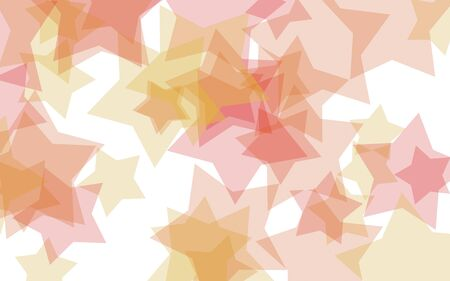 Multicolored translucent stars on a white background. Yellow tones. 3D illustration Stok Fotoğraf