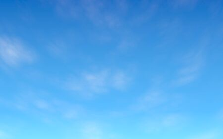 Blue sky background with white clouds. Cumulus white clouds in the clear blue sky in the morning. 3D illustration Stockfoto