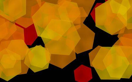 Multicolored translucent hexagons on dark background. Yellow. 3D illustration Stok Fotoğraf