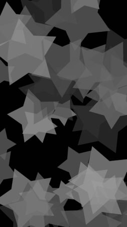 Multicolored translucent stars on a dark background. Vertical image orientation. 3D illustration Stok Fotoğraf