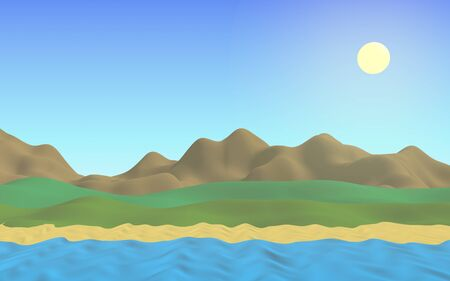 Sun Sea Beach. Noon. Ocean shore line with waves on a beach. Island beach paradise with waves. Vacation, summer, relaxation. Seascape, seashore. Minimalist landscape, primitivism. 3D illustration Stok Fotoğraf