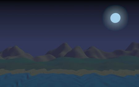 Starry moonless sky. Ocean shore line with waves on a beach. Island beach paradise with waves. Vacation, summer, relaxation. Seascape, seashore. Minimalist landscape, primitivism. 3D illustration Stok Fotoğraf