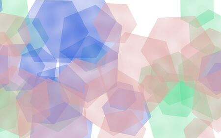 Multicolored translucent hexagons on white background. 3D illustration