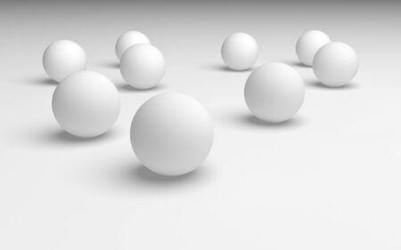White abstract background. Set of white balls isolated on white backdrop. 3D illustration 스톡 콘텐츠
