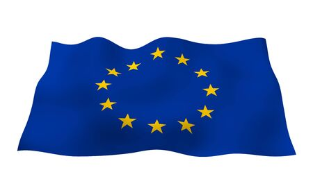 Slightly waving flag of the European Union isolated on white background, 3D rendering. Symbol of Europe. 3D illustration Stok Fotoğraf