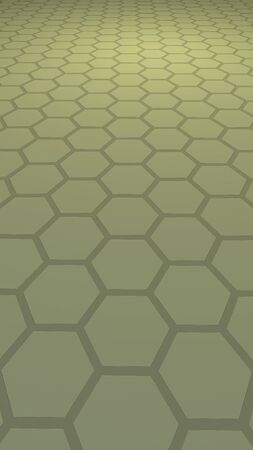 Honeycomb with color lighting, on a gray background. Perspective view on polygon look like honeycomb. Isometric geometry. Vertical image orientation. 3D illustration Фото со стока