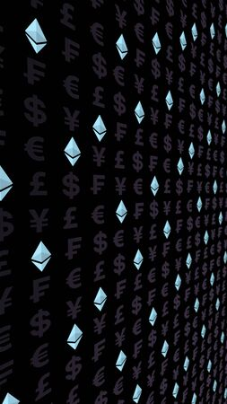Ethereum crystal and currency on a dark background. Digital crypto currency symbol. Business concept. Market Display. 3D illustration Stock fotó