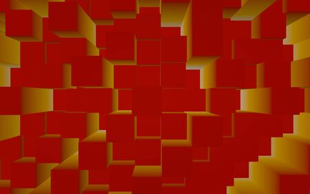 Abstract red elegant cube geometric background. Chaotically advanced rectangular bars. 3D Rendering, 3D illustration 版權商用圖片