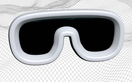 Virtual reality illustration on abstract gray grid background. VR glasses concept. 3D illustration 写真素材