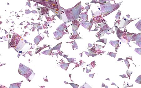 Flying euro banknotes isolated on a white background. Money is flying in the air. 500 EURO in color. 3D illustration