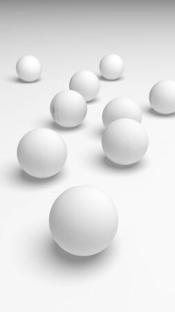 White abstract background. Set of white balls isolated on white backdrop. 3D illustration 写真素材