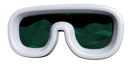 Virtual reality mask illustration on white background. VR glasses technology concept. 3D illustration
