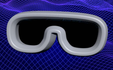 Virtual reality mask illustration on abstract blue grid background. VR glasses technology concept. 3D illustration 写真素材
