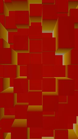 Abstract red elegant cube geometric background. Chaotically advanced rectangular bars. 3D Rendering, 3D illustration Stock fotó