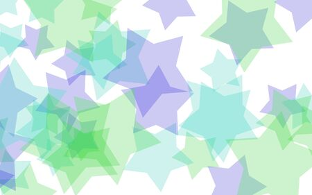 Multicolored translucent stars on a white background. Green tones. 3D illustration Reklamní fotografie
