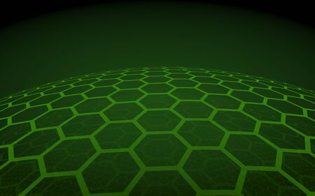 Multilayer sphere of honeycombs, yellow on a dark background, social network, computer network, technology, global network. 3D illustration