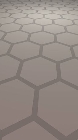 Honeycomb with color lighting, on a gray background. Perspective view on polygon look like honeycomb. Isometric geometry. Vertical image orientation. 3D illustration Stock fotó