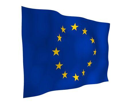 Slightly waving flag of the European Union isolated on white background, 3D rendering. Symbol of Europe. 3D illustration Stock fotó