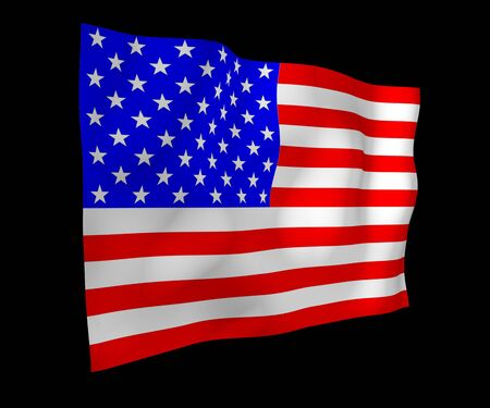 Waving flag of the United States of America on a dark background. Stars and Stripes. State symbol of the USA. 3D illustration Stock fotó