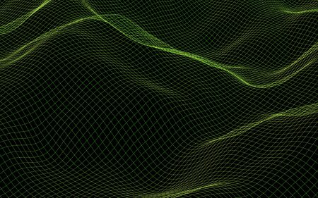 Abstract landscape background. Cyberspace green grid. hi tech network. 3D illustration