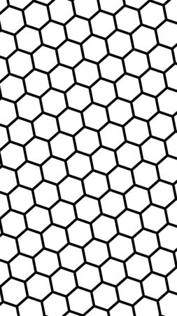 Black honeycomb on a white background. Perspective view on polygon look like honeycomb. Isometric geometry. Vertical image orientation. 3D illustration