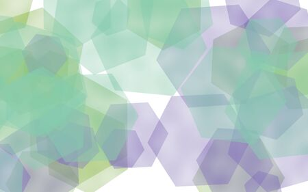 Multicolored translucent hexagons on white background. Blue tones. 3D illustration