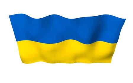The flag of Ukraine on a white background. National flag and state ensign. Blue and yellow bicolour. 3D illustration waving flag