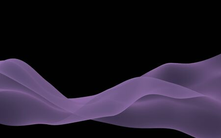Abstract purple wave. Raster air background. Bright gray ribbon on dark background. Gray scarf. Abstract gray smoke. 3D illustration