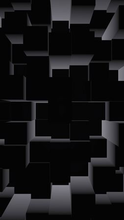 Abstract dark elegant cube geometric background. Chaotically advanced rectangular bars. 3D Rendering, 3D illustration 版權商用圖片