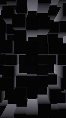 Abstract dark elegant cube geometric background. Chaotically advanced rectangular bars. 3D Rendering, 3D illustration Stock Photo