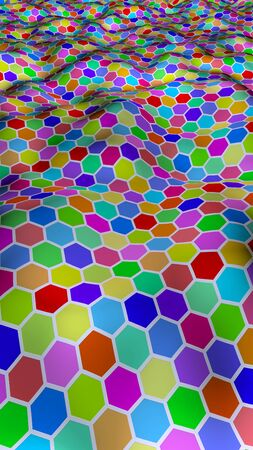Honeycomb multi-colored. Perspective view on polygon look like honeycomb. Wavy surface. Isometric geometry. 3D illustration
