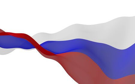 Waving flag of the Russian Federation. The National. State symbol of the Russia. 3D illustration Stok Fotoğraf