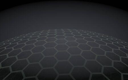 Multilayer sphere of honeycombs, blue on a black background, social network, computer network, technology, global network. 3D illustration