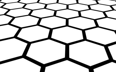 Black honeycomb on a white background. Perspective view on polygon look like honeycomb. Isometric geometry. 3D illustration