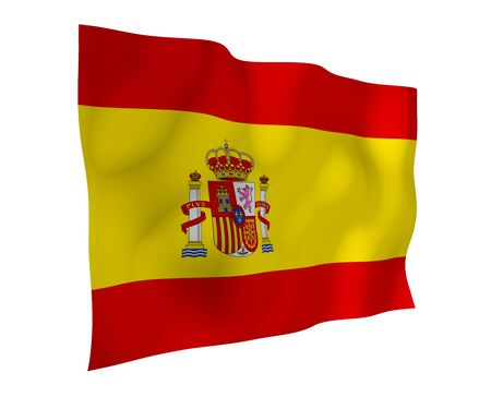 The flag of Spain. Official state symbol of the Kingdom of Spain. Concept: web, sports pages, language courses, travelling, design elements. 3d illustration Stock Photo