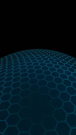 Multilayer sphere of honeycombs, gray turquoise on a dark background, social network, computer network, technology, global network. 3D illustration