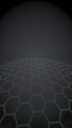 Multilayer sphere of honeycombs, blue on a black background, social network, computer network, technology, global network. 3D illustration