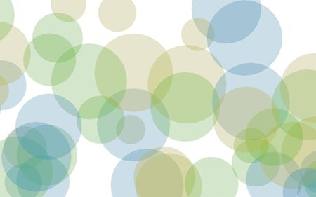 Multicolored translucent circles on a white background. Green tones. 3D illustration