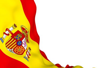 The flag of Spain. Official state symbol of the Kingdom of Spain. Concept: web, sports pages, language courses, travelling, design elements. 3d illustration Stok Fotoğraf