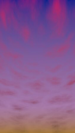 Cumulus pink clouds in the purple sky at sunset. Abstract group of clouds in the evening. 3D illustration Stockfoto
