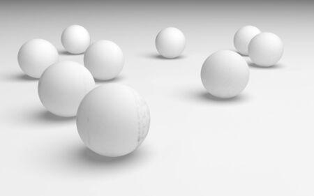 White abstract background. Set of white balls isolated on white backdrop. 3D illustration Stockfoto
