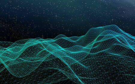 Abstract landscape on a dark background. Cyberspace grid. hi tech network. Outer space. Starry outer space texture. 3D illustration 写真素材