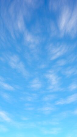 Blue sky background with white clouds. Cumulus white clouds in the clear blue sky in the morning. 3D illustration Фото со стока