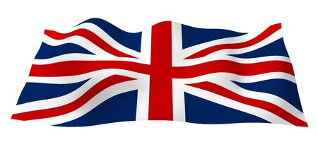 Waving flag of the Great Britain. British flag. United Kingdom of Great Britain and Northern Ireland. State symbol of the UK. 3D illustration