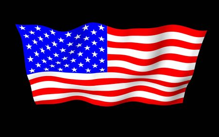 Waving flag of the United States of America on a dark background. Stars and Stripes. State symbol of the USA. 3D illustration Stok Fotoğraf